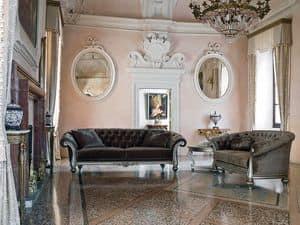 ATENA divano 8413L, Divano classico in legno a due o tre posti, capitonnè