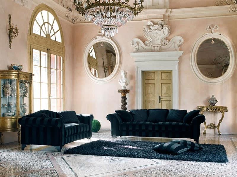 Divano in stile classico rivestito in tessuto idfdesign for Divani comodi classici