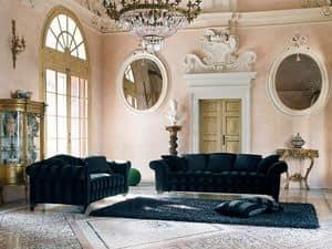 BLOMM divano 8415L, Divano in stile classico, rivestito in tessuto
