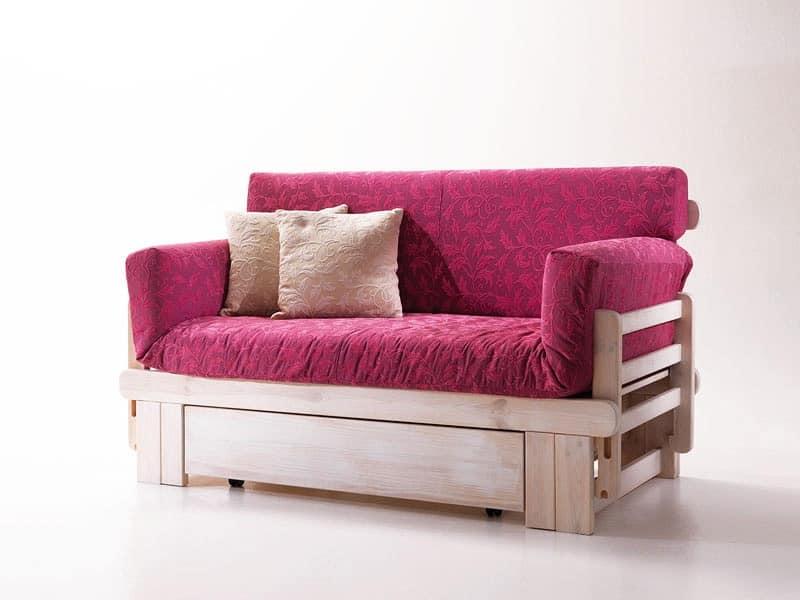 divano letto rustico in legno con contenitore idfdesign