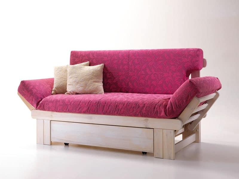 Divano letto rustico, in legno, con contenitore | IDFdesign