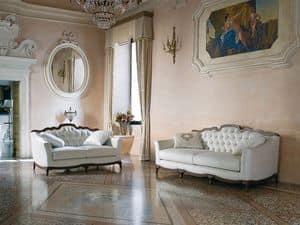 CHARME divano 8414L, Divano in stile classico, capitonn�, con comodi cuscini
