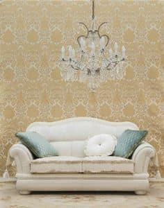 Flora divano, Divanetto due posti, in stile classico, in tessuto bianco
