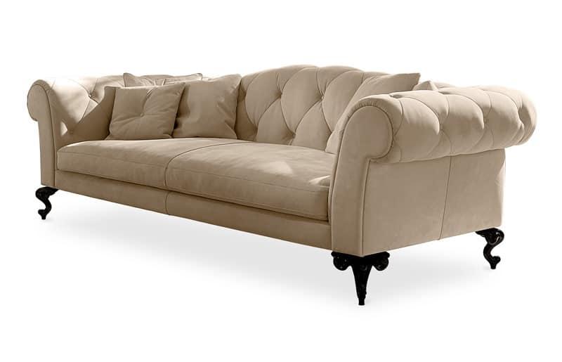 divano imbottito capitonn in stile classico idfdesign