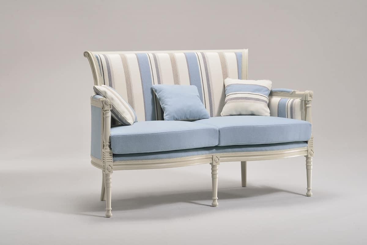 KELLY LARGE divanetto 8042L, Divano in stile classico, in faggio, per uso residenziale