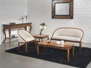 MIMI' sofà 8285L, Divano in faggio, tinte personalizzabili, per salotto