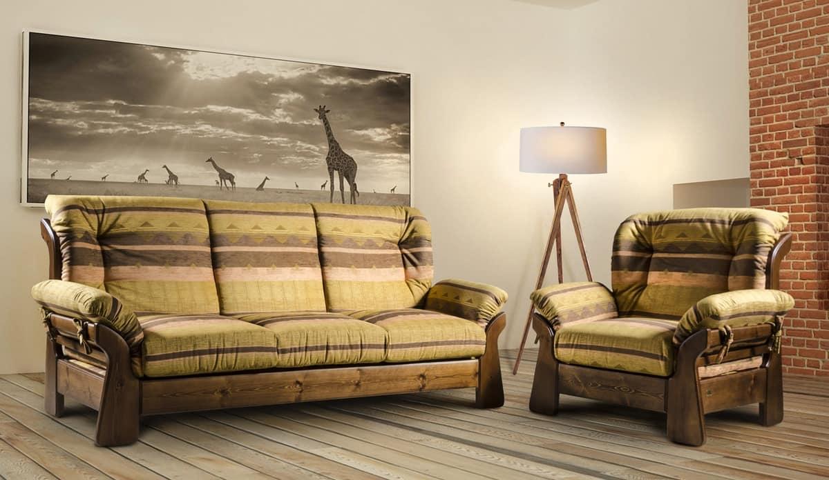 divano country in legno massello idfdesign