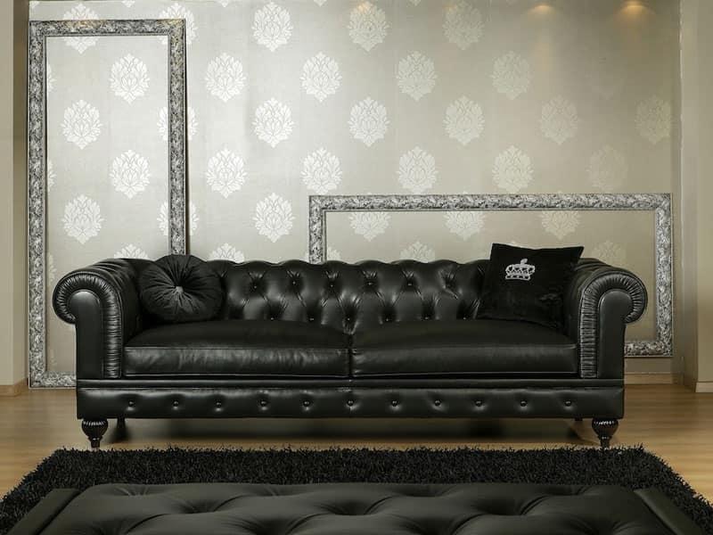 NICOLAS divano 8555L, Divano classico in poliuretano, disponibile in varie misure