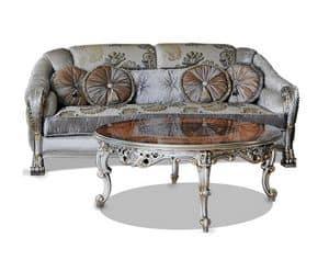 Prince, Lussuoso divano intagliato a mano, rivestimento in pregiati tessuti