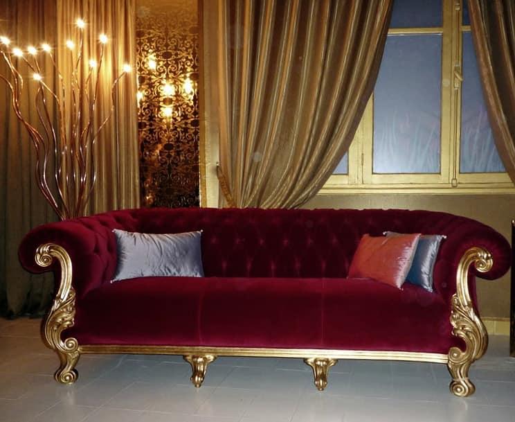 Queen classico tessuto, Divano lussuoso, made in Italy