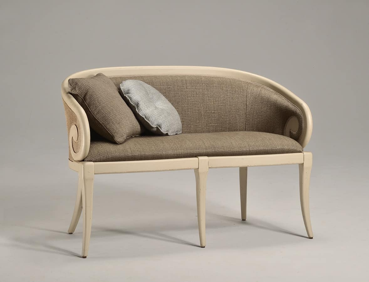 TOFFE divano (con canne) 8216L, Divanetto a due posti, rivestimento in tessuto