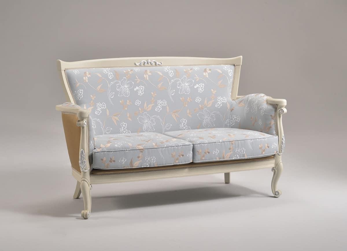 VENEZIA divano 8294L, Divano con finitura in foglia d'argento, stile classico