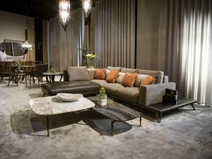 ARES divano GEA Collection, Divano con penisola rivestita in pelle