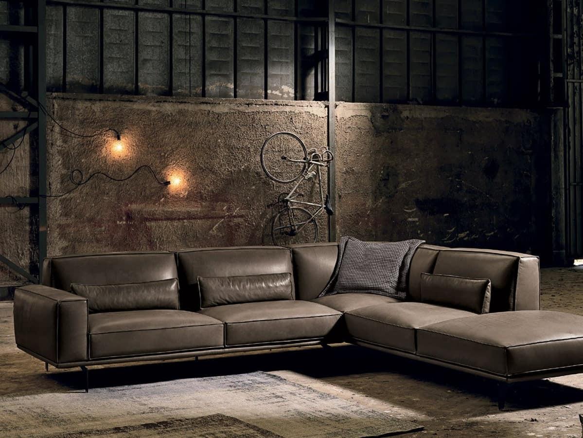 divano angolare e componibile in pelle idfdesign