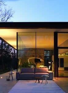 DREAM divano, Divano design, elegante e lineare, in pelle e tessuto