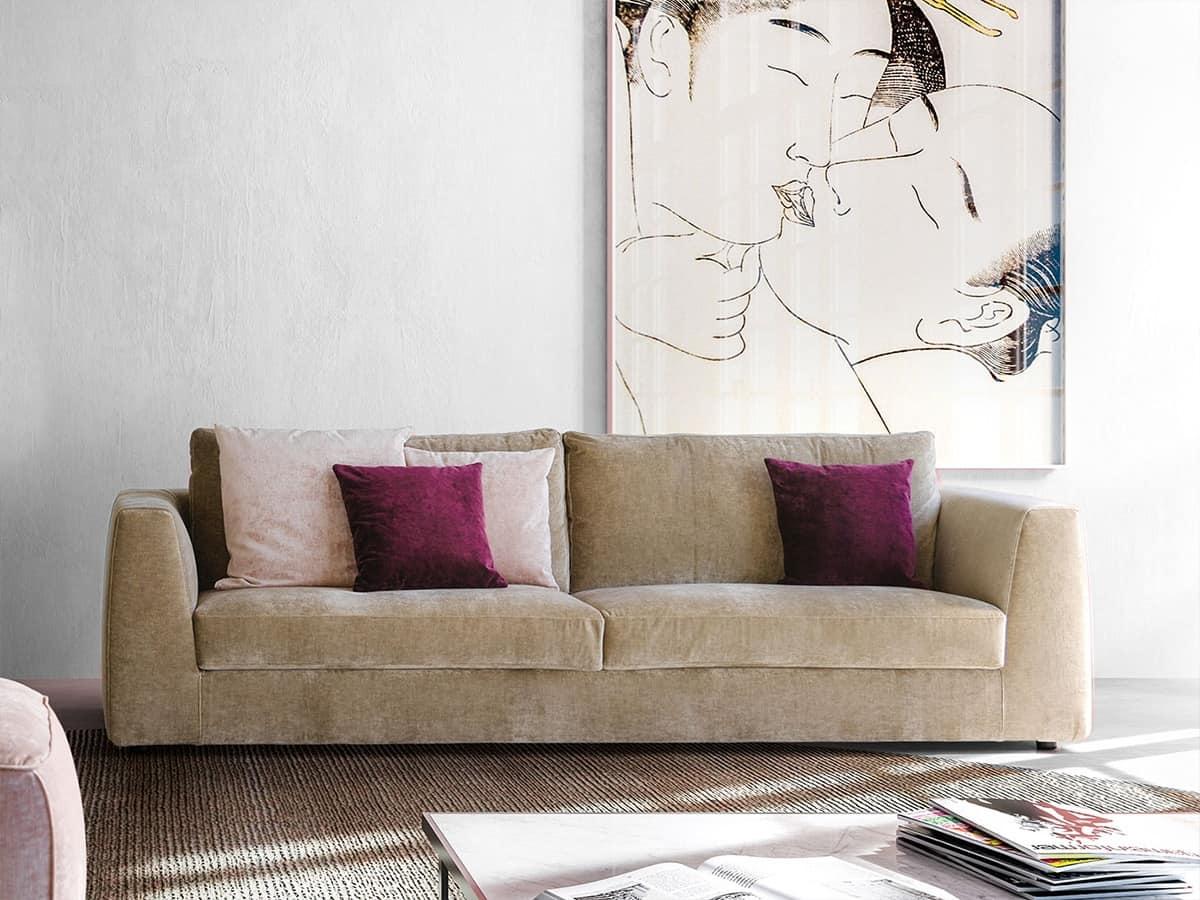 Divano semplice e elegante in tessuto teso per salotto for Divano in tessuto