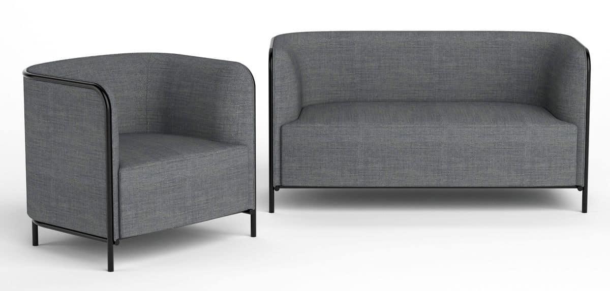 Place divano, Divano rivestito in ecopelle, struttura in metallo