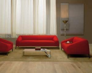 Sebastian divano, Divanetto design con piedini in legno, rivestimento in tessuto