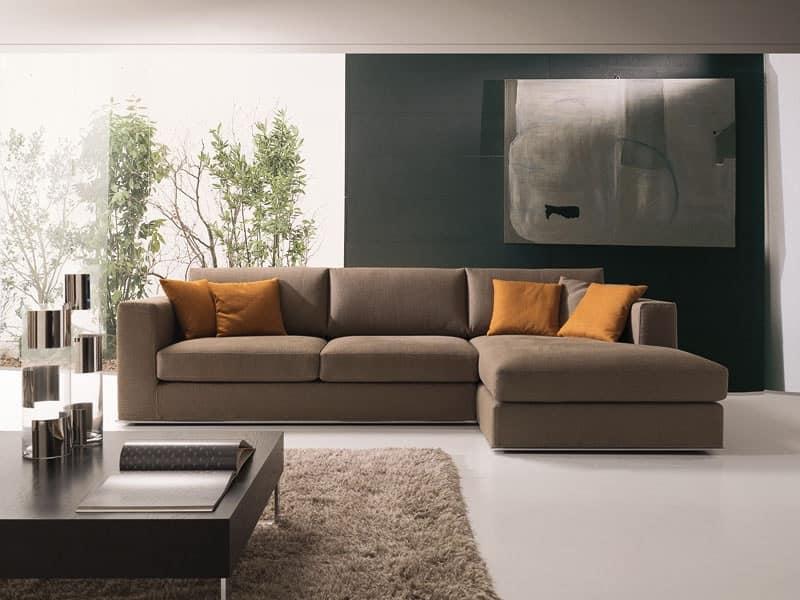 Divano angolare moderno in tessuto o pelle per salotto idfdesign - Copridivano angolare per divano in pelle ...