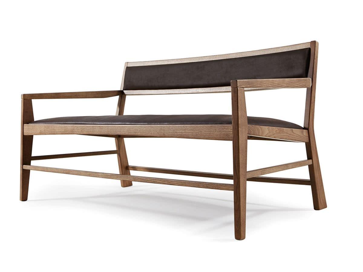 divanetto legno 1 posto : Divano semplice con rivestimento in ecopelle, poltrona imbottita con ...
