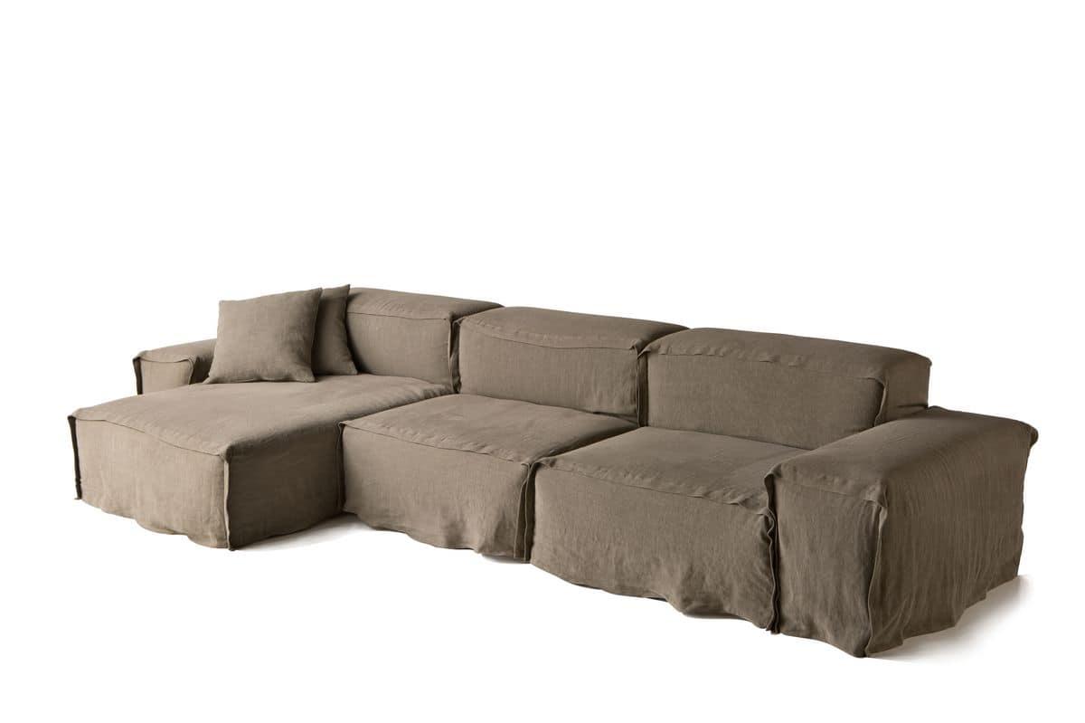 Divano modulare con chaise longue per salotto moderno for Chaise longue divano