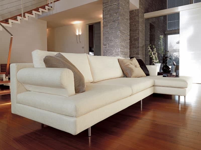 Divanetto moderno con penisola piedi cromati per salotto for Divani per salotto