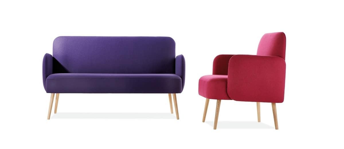Divanetto a due posti sospeso con gambe in legno idfdesign - Un divanetto a due posti ...