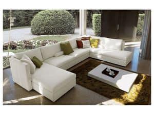 Company angolare, Divano componibile, completamente sfoderabile, design moderno