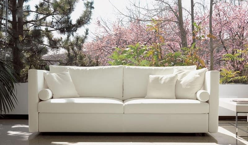 Company, Comodo divano, per eleganti salotti, rivestimento in tessuto sfoderabile