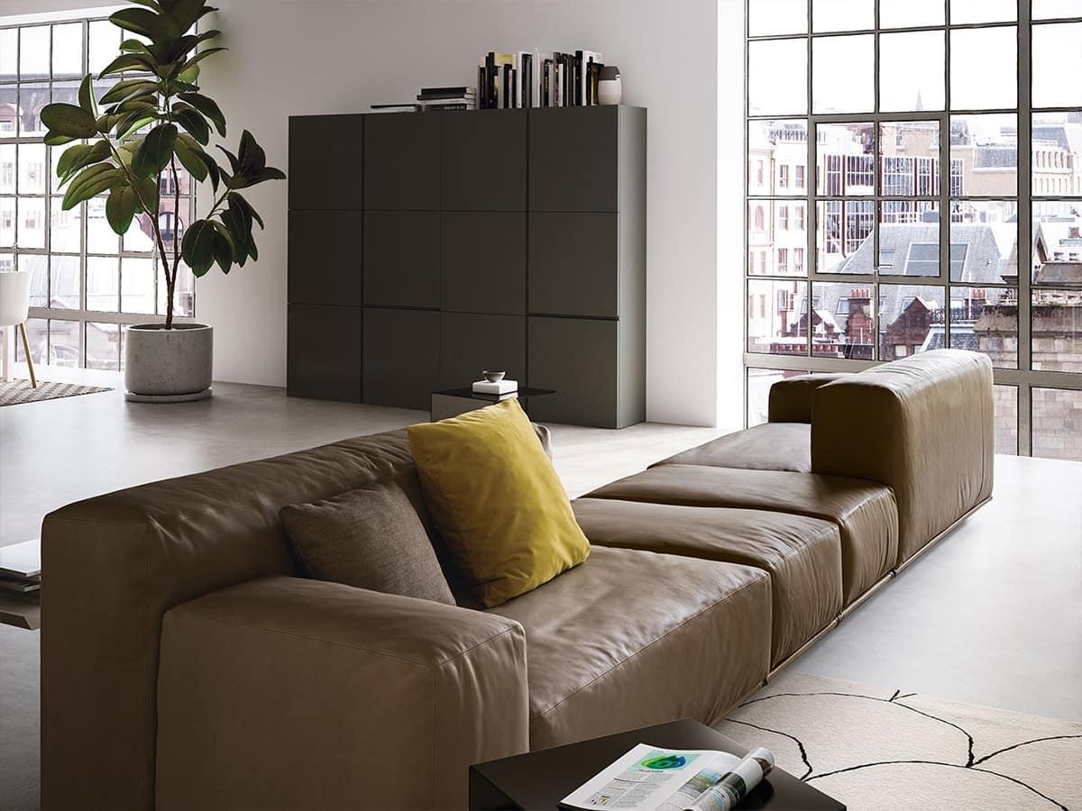 Delano, Divano moderno con 2 livelli di schienali