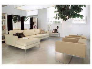 Ginger angolare, Divano modulare, piede cromato lucido, per uffici e case