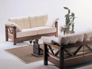 Hollywood, Divano con legno a vista, dal design sobrio, per veranda
