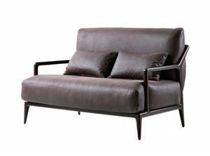 Indigo divano 2 posti, Divanetto a due posti con struttura in noce canaletto