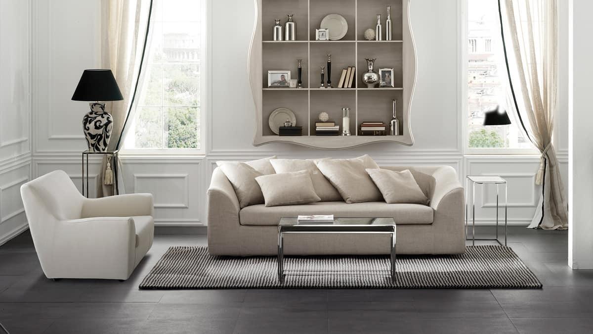 divano angolare con struttura in legno stile moderno