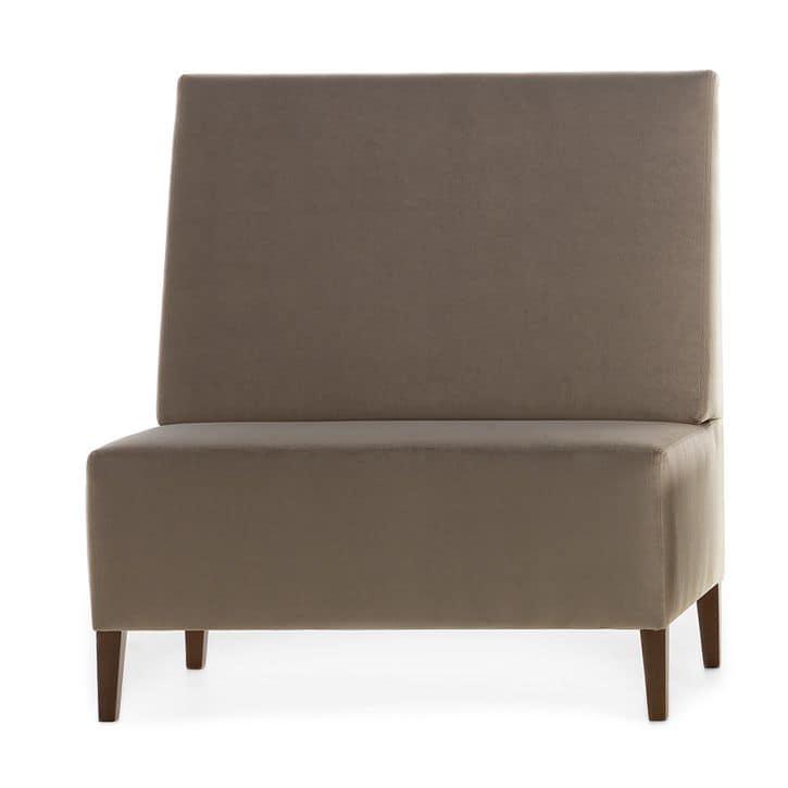 Linear 02451, Panca modulare alta, piedi in legno, sedile e schienale imbottiti, copertura in tessuto, in stile moderno