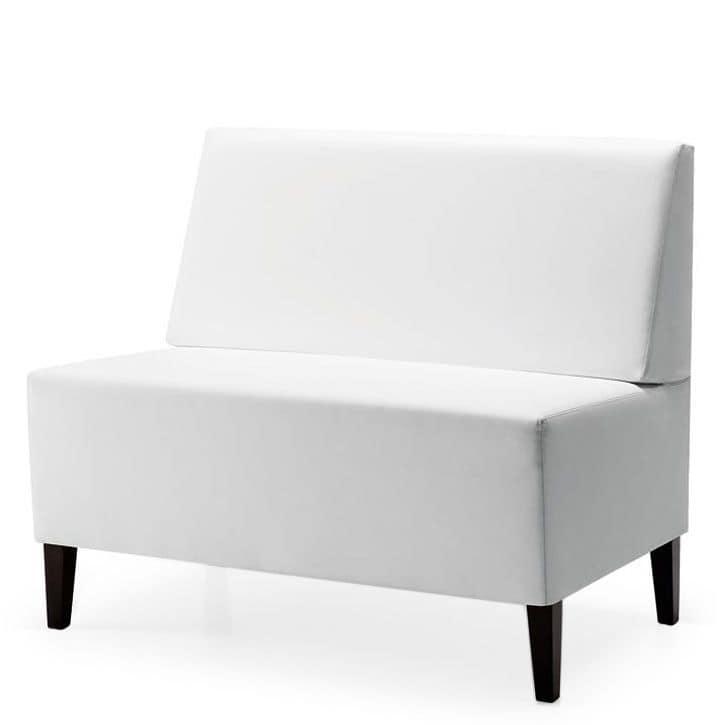 Linear 02452, Panca modulare bassa, piedi in legno, sedile e schienale imbottiti, copertura in tessuto, in stile moderno