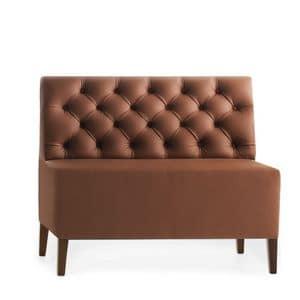 Linear 02452K, Panca modulare bassa, piedi in legno, sedile e schienale imbottiti, copertura in pelle, in stile moderno