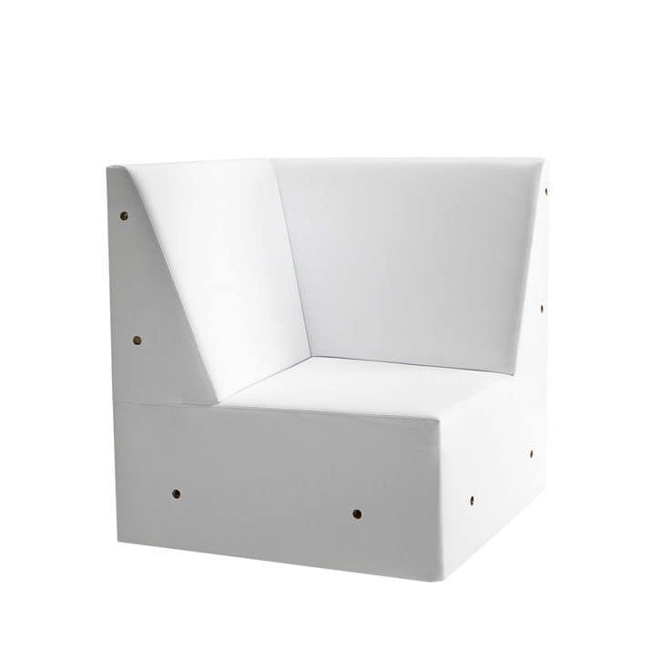 Linear 02456, Panca angolare modulare bassa, piedi in legno massiccio, seduta e schienale imbottiti, piedi in legno, stile moderno