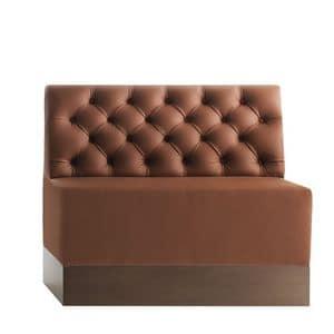 Linear 02482K, Panca modulare bassa, zoccolo in laminato, schienale capitonnè, copertura in pelle, stile moderno