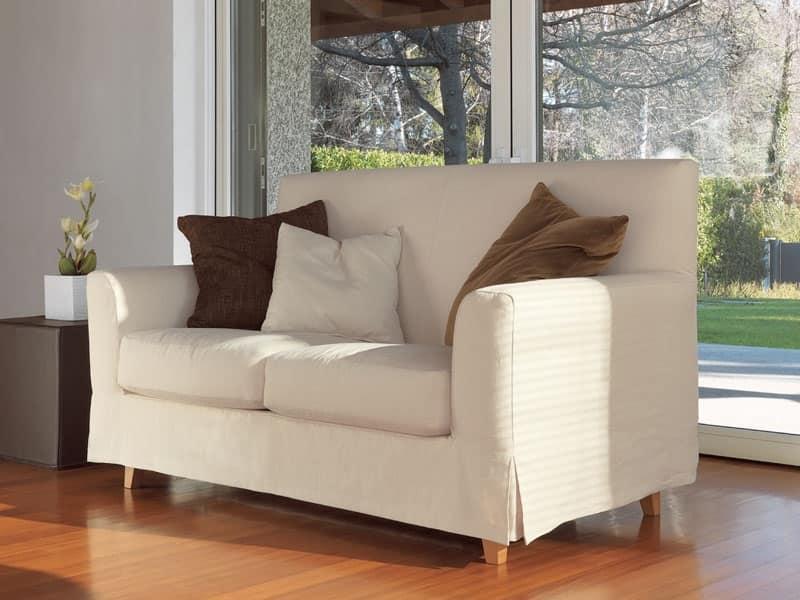 divano lineare piedi in faggio tinto per salotto moderno