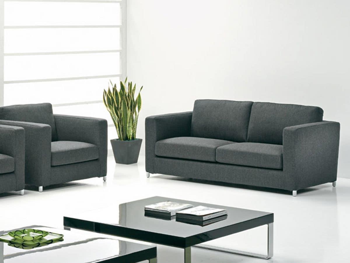 Divano moderno in pelle e tessuto per salotto e uffici for Divano pelle e tessuto