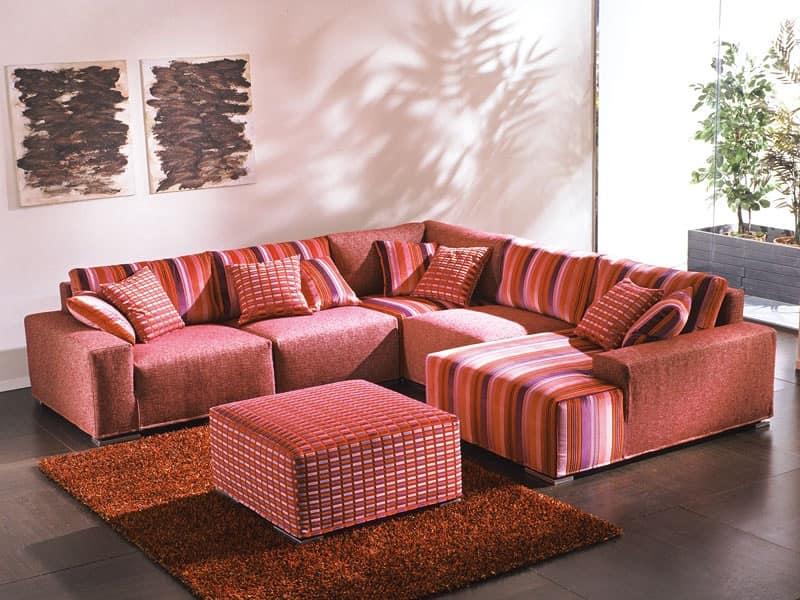 Divano scombinabile angolare sfoderabile per soggiorno for Divano angolare divani e divani