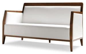 PL 49 EN, Divano lineare in legno, rivestimento in ecopelle