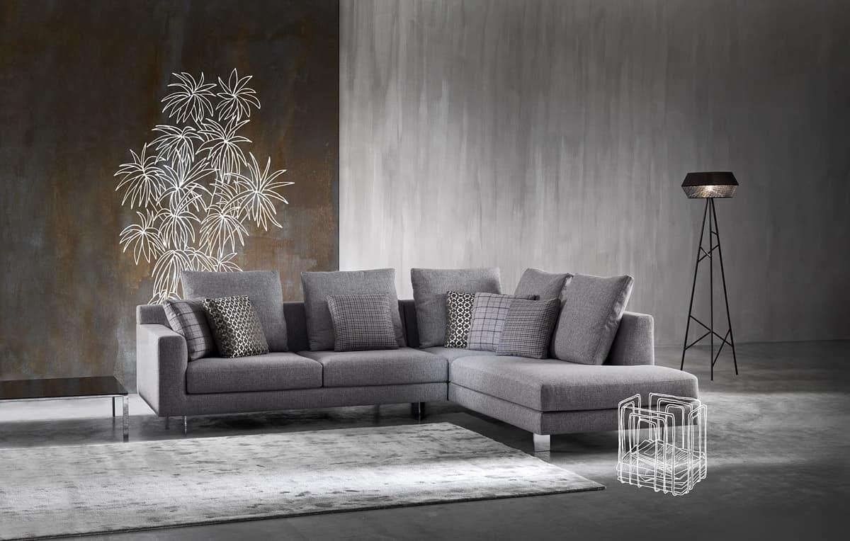divano moderno con tessuto sfoderabile in poliuretano