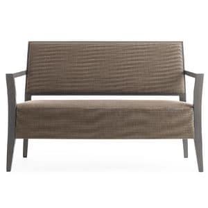 Timberly 01754, Divano con struttura in legno massiccio, seduta e schienale imbottiti, copertura in tessuto, per sale d'attesa