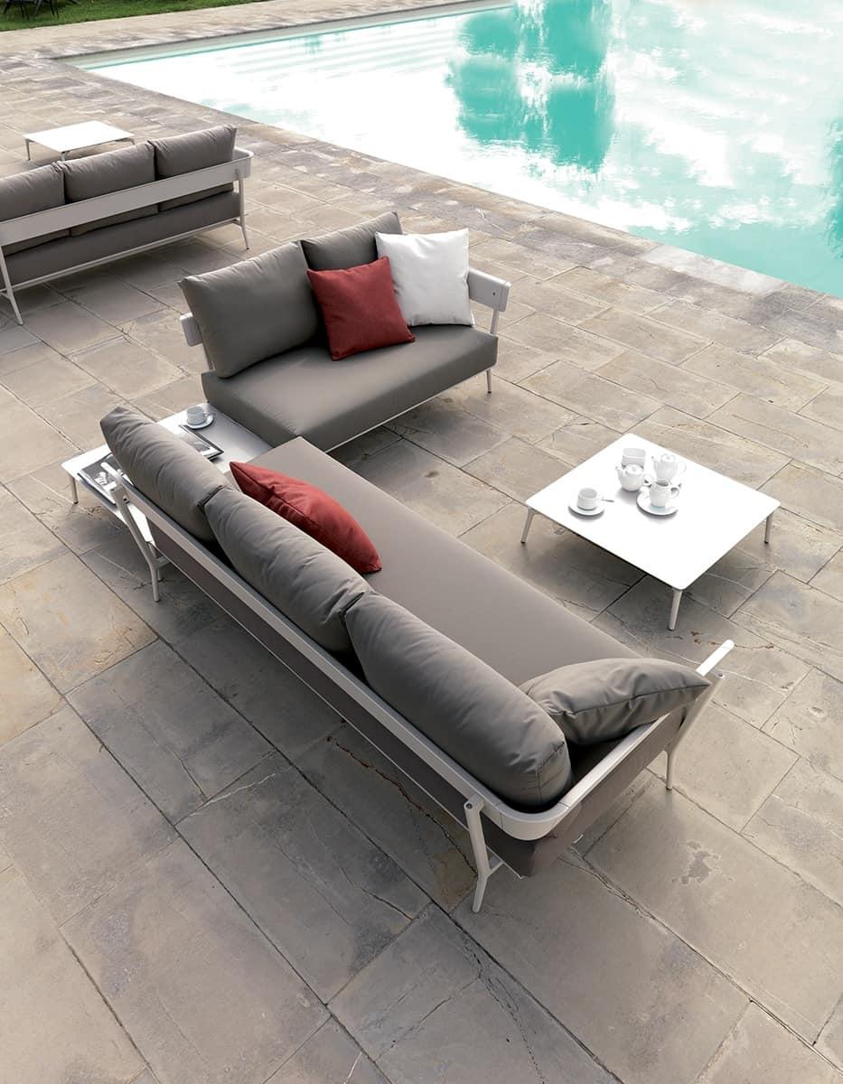 Divano componibile in alluminio e cuscini per esterni idfdesign - Divano per esterni ...
