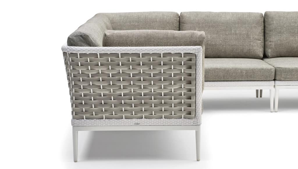 Algarve divano componibile, Divano componibile, base in alluminio, intrecciato a mano
