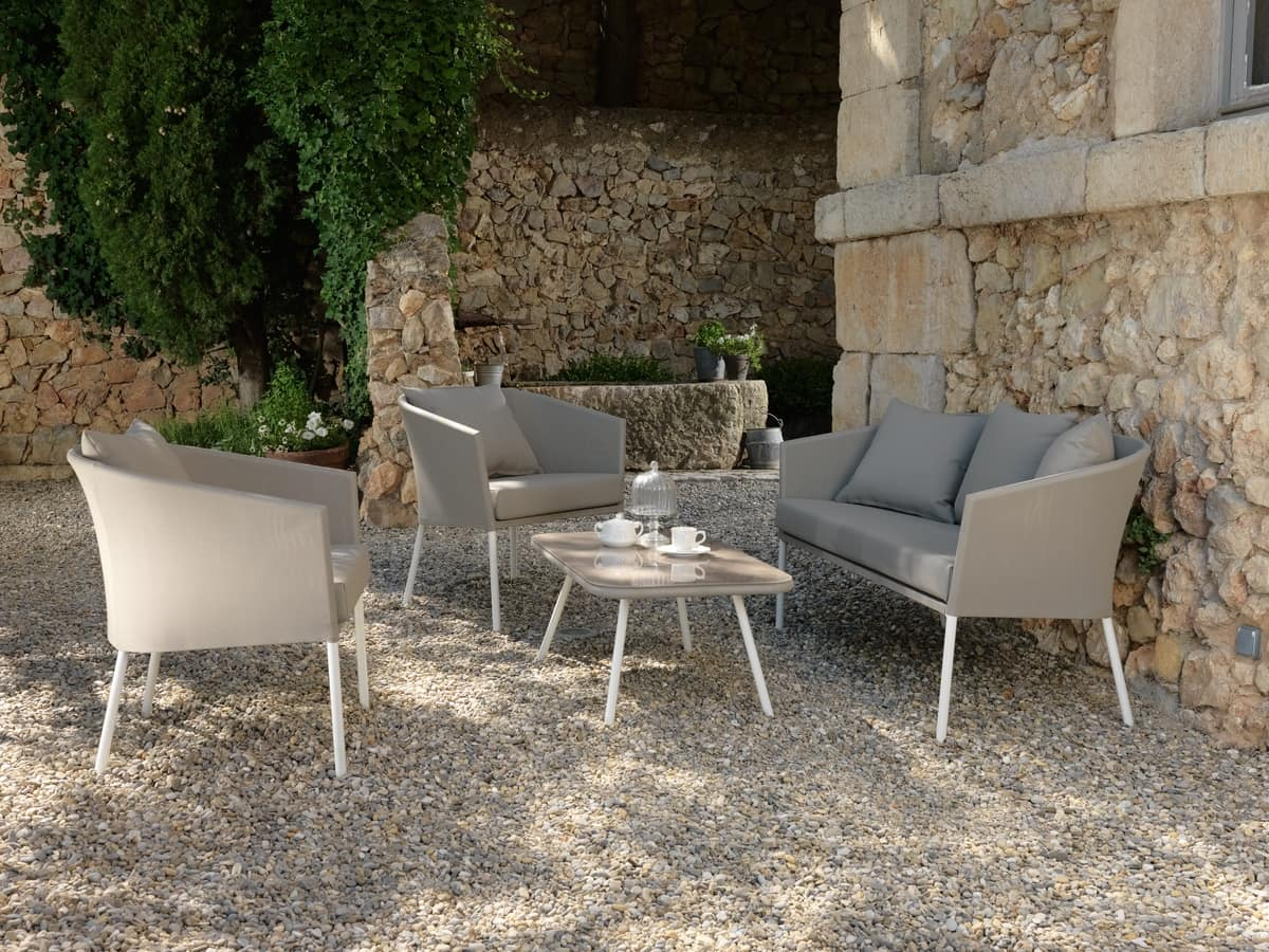 Divanetto da giardino con struttura in alluminio idfdesign - Poltrone da giardino usate ...