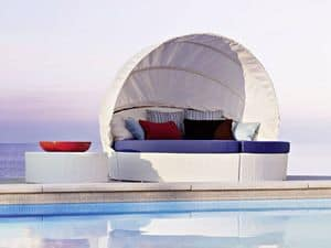 Arena divano circolare c/capote, Divano rotondo, intrecciato a mano, per spiaggie e piscine