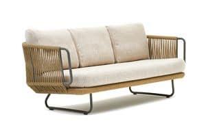 Babylon divano 3p, Divano a 3 posti in alluminio e corda sintetica, per esterni